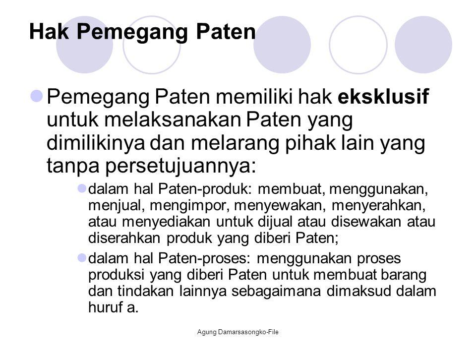 Hak Pemegang Paten Pemegang Paten memiliki hak eksklusif untuk melaksanakan Paten yang dimilikinya dan melarang pihak lain yang tanpa persetujuannya: