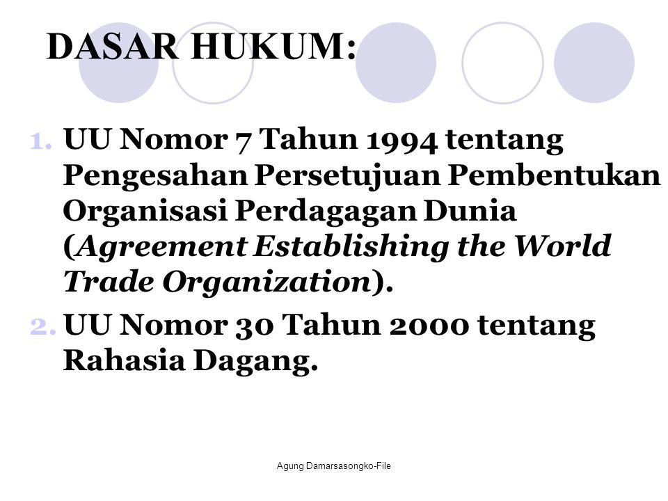 DASAR HUKUM: 1.UU Nomor 7 Tahun 1994 tentang Pengesahan Persetujuan Pembentukan Organisasi Perdagagan Dunia (Agreement Establishing the World Trade Or