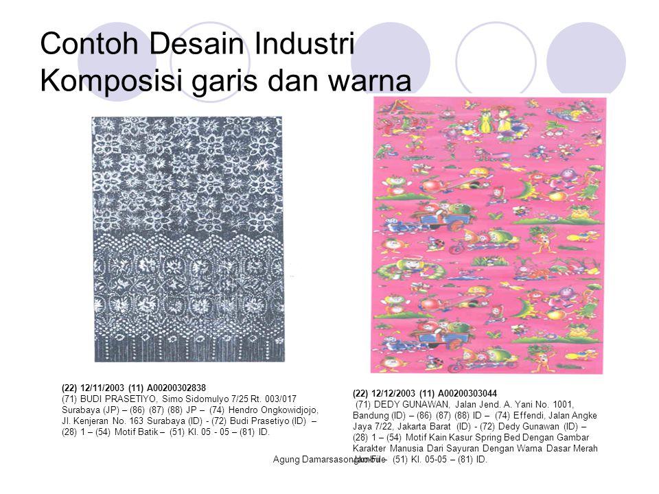 Contoh Desain Industri Komposisi garis dan warna (22) 12/11/2003 (11) A00200302838 (71) BUDI PRASETIYO, Simo Sidomulyo 7/25 Rt. 003/017 Surabaya (JP)
