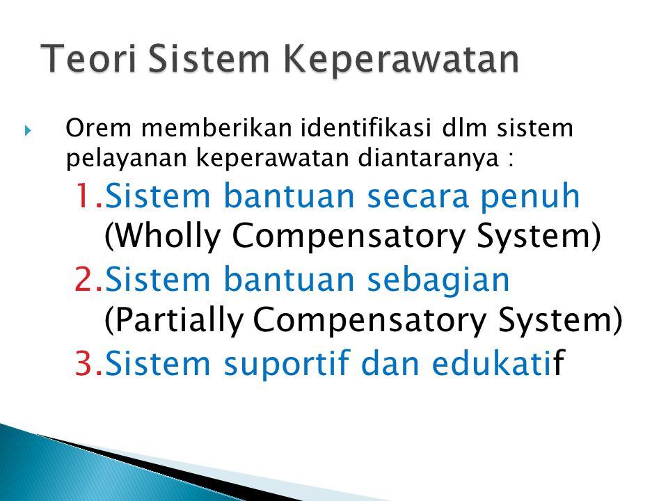 OOrem memberikan identifikasi dlm sistem pelayanan keperawatan diantaranya : 1.Sistem bantuan secara penuh (Wholly Compensatory System) 2.Sistem ban