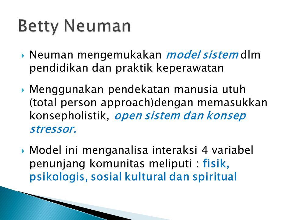  Neuman mengemukakan model sistem dlm pendidikan dan praktik keperawatan  Menggunakan pendekatan manusia utuh (total person approach)dengan memasukk