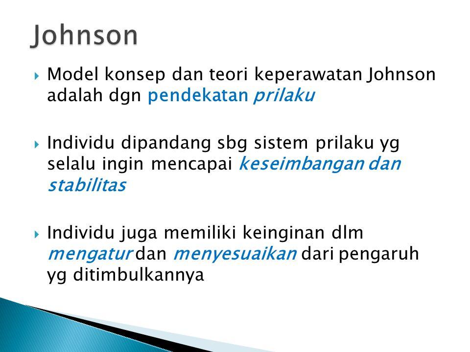  Model konsep dan teori keperawatan Johnson adalah dgn pendekatan prilaku  Individu dipandang sbg sistem prilaku yg selalu ingin mencapai keseimbang