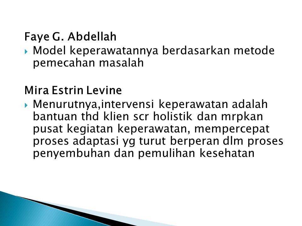 Faye G. Abdellah  Model keperawatannya berdasarkan metode pemecahan masalah Mira Estrin Levine  Menurutnya,intervensi keperawatan adalah bantuan thd
