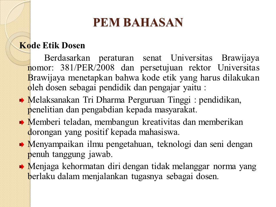 PEM BAHASAN Kode Etik Dosen Berdasarkan peraturan senat Universitas Brawijaya nomor: 381/PER/2008 dan persetujuan rektor Universitas Brawijaya menetap
