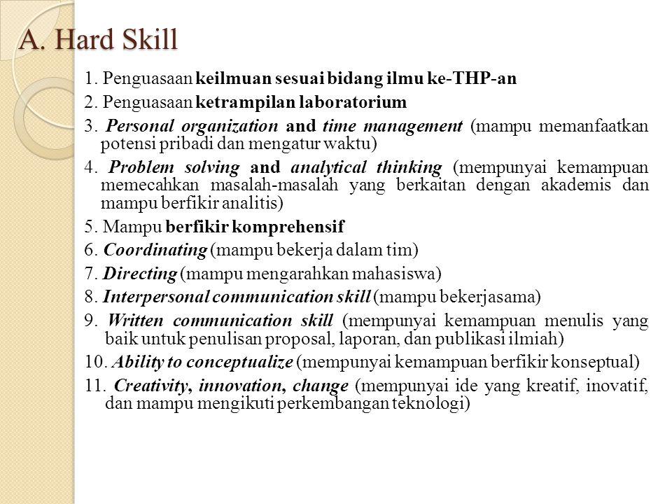 A. Hard Skill 1. Penguasaan keilmuan sesuai bidang ilmu ke-THP-an 2. Penguasaan ketrampilan laboratorium 3. Personal organization and time management