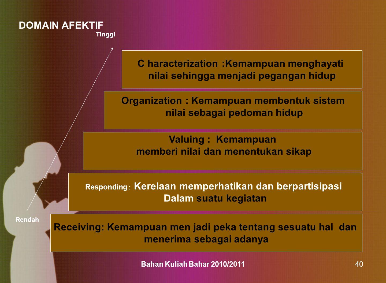 Bahan Kuliah Bahar 2010/201140 C haracterization :Kemampuan menghayati nilai sehingga menjadi pegangan hidup Organization : Kemampuan membentuk sistem
