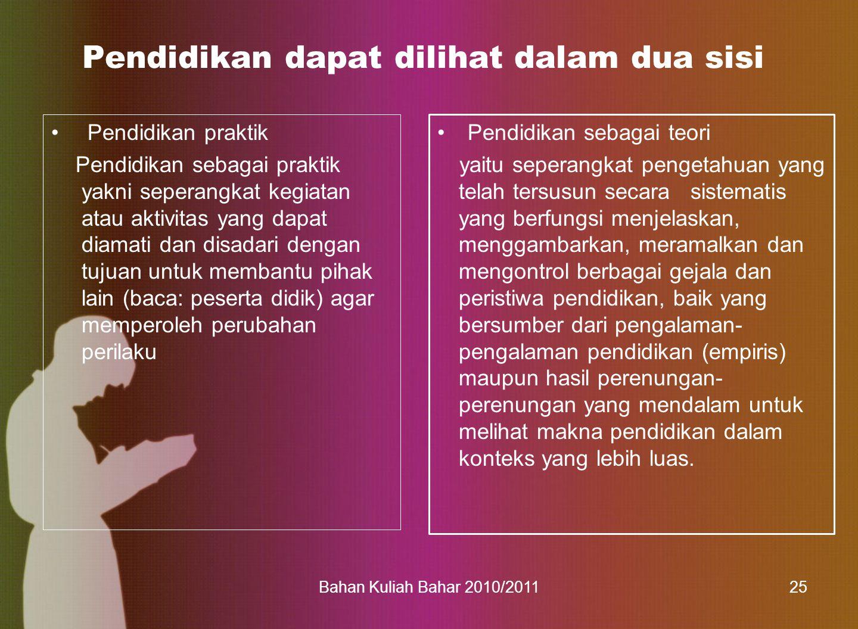 Bahan Kuliah Bahar 2010/201136 Penddikan Nasional adalah pendidikan yang berdasarkan Pancasila dan UUD RI tahun 1945 yang b erakar pada nilai-nilai agama, kebudayaan nasional Indonesia dan tanggap terhadap tuntutan perubahan zaman (UU SPN 20/03)