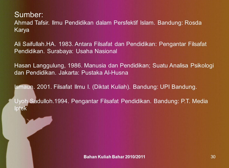 Bahan Kuliah Bahar 2010/201130 Sumber: Ahmad Tafsir. Ilmu Pendidikan dalam Persfektif Islam. Bandung: Rosda Karya Ali Saifullah.HA. 1983. Antara Filsa