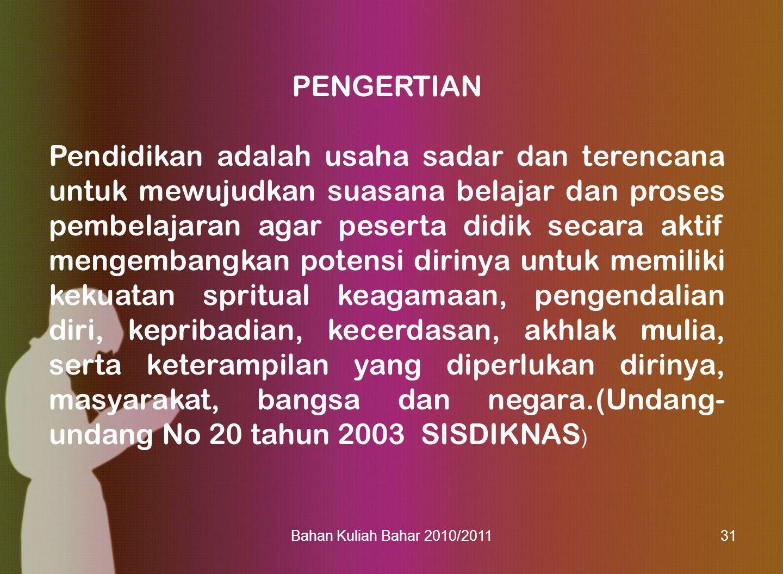Bahan Kuliah Bahar 2010/201132 TRISENTRIS PENDIDIKAN: PROFIL PENDIDIKAN DI INDONESIA PENDIDIKAN FORMAL PENDIDIKAN INFORMAL PENDIDIKAN NONFORMAL TRI SENTRIS PEMERINTAH: DINAS PENDIDIKAN, DINAS SOSIAL, DEPAG, DPRD PEMERINTAH: DINAS PENDIDIKAN, DINAS SOSIAL, DEPAG, DPRD BANTUAN INTERNASIONAL: UNESCO, UNICEF, USAID, NGO, DLL BANTUAN INTERNASIONAL: UNESCO, UNICEF, USAID, NGO, DLL LEMBAGA PENDIDIKAN FORMAL: TK, SD/MI, SMP/MTs SMA/MA, PT LEMBAGA PENDIDIKAN FORMAL: TK, SD/MI, SMP/MTs SMA/MA, PT KELUARGA & MASYARAKAT: INDUSTRI, LSM, KOMITE SEKOLAH, DEWAN PENDIDIKAN KELUARGA & MASYARAKAT: INDUSTRI, LSM, KOMITE SEKOLAH, DEWAN PENDIDIKAN