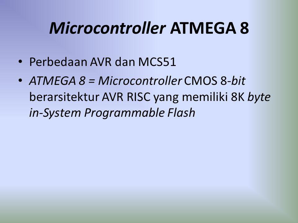 Microcontroller ATMEGA 8 Perbedaan AVR dan MCS51 ATMEGA 8 = Microcontroller CMOS 8-bit berarsitektur AVR RISC yang memiliki 8K byte in-System Programm