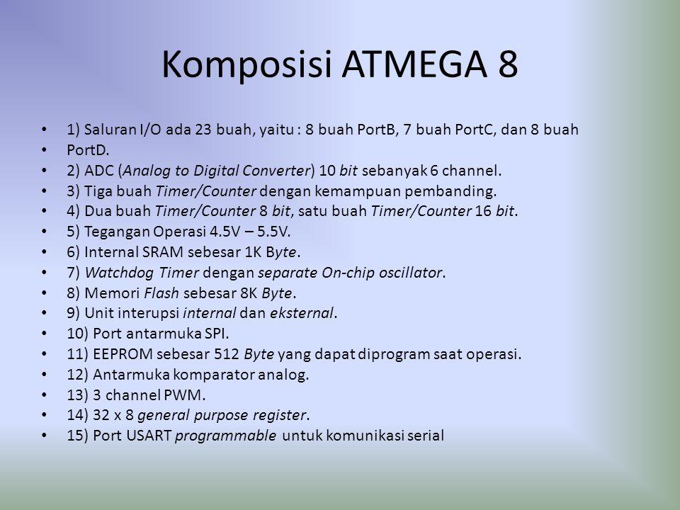 Komposisi ATMEGA 8 1) Saluran I/O ada 23 buah, yaitu : 8 buah PortB, 7 buah PortC, dan 8 buah PortD. 2) ADC (Analog to Digital Converter) 10 bit seban