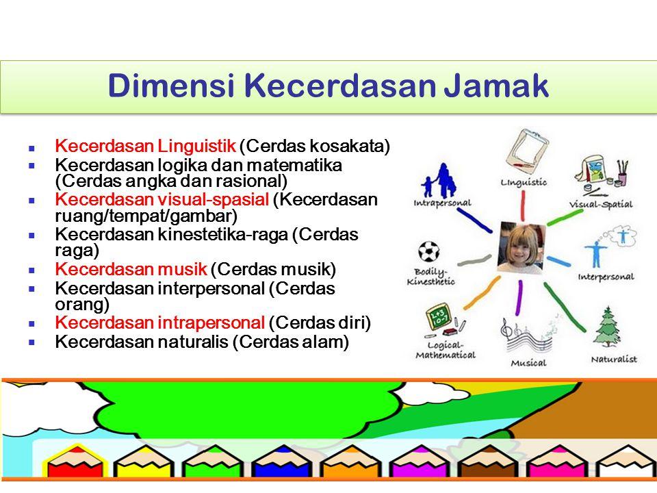 Dimensi Kecerdasan Jamak Kecerdasan Linguistik (Cerdas kosakata) Kecerdasan logika dan matematika (Cerdas angka dan rasional) Kecerdasan visual-spasia