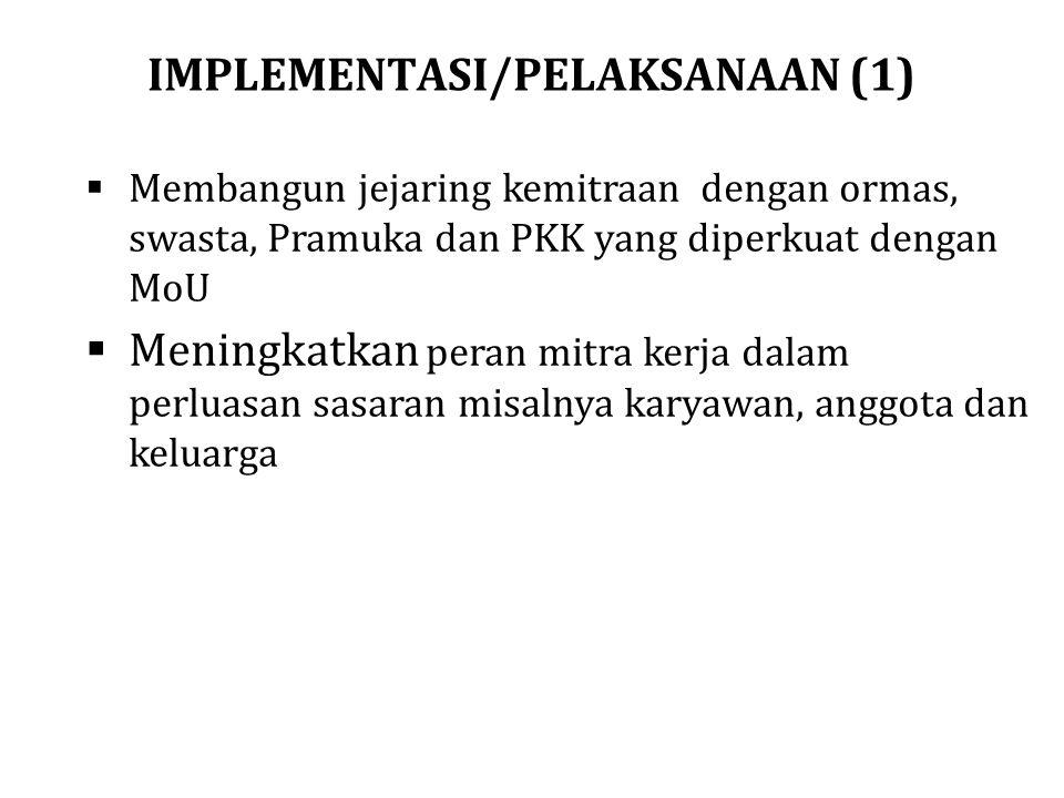 IMPLEMENTASI/PELAKSANAAN (1)  Membangun jejaring kemitraan dengan ormas, swasta, Pramuka dan PKK yang diperkuat dengan MoU  Meningkatkan peran mitra