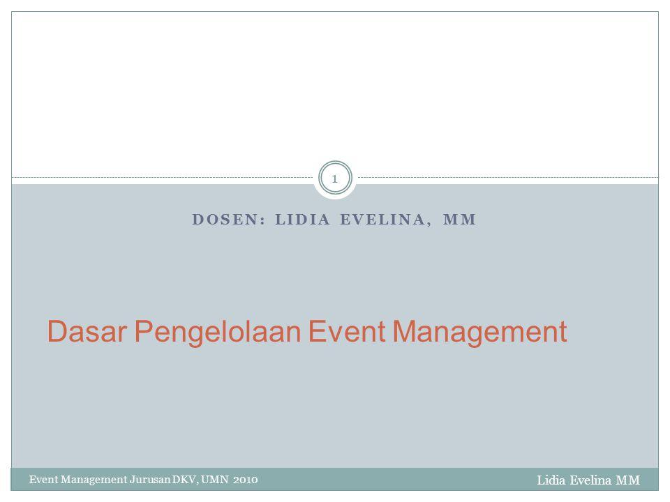 Keberhasilan EO Lidia Evelina MM Event Management Jurusan DKV, UMN 2010 12 Mengelola dengan baik Miliki spesifikasi tertentu Kemampuan Negosiasi dan lobi Kemampuan presentasi Ide inovatif Mempersiapkan segala sesuatunya dengan baik.