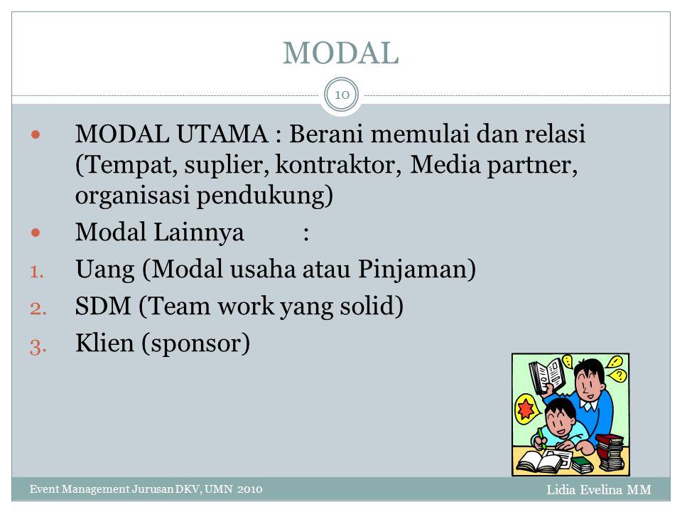 MODAL Lidia Evelina MM Event Management Jurusan DKV, UMN 2010 10 MODAL UTAMA : Berani memulai dan relasi (Tempat, suplier, kontraktor, Media partner,