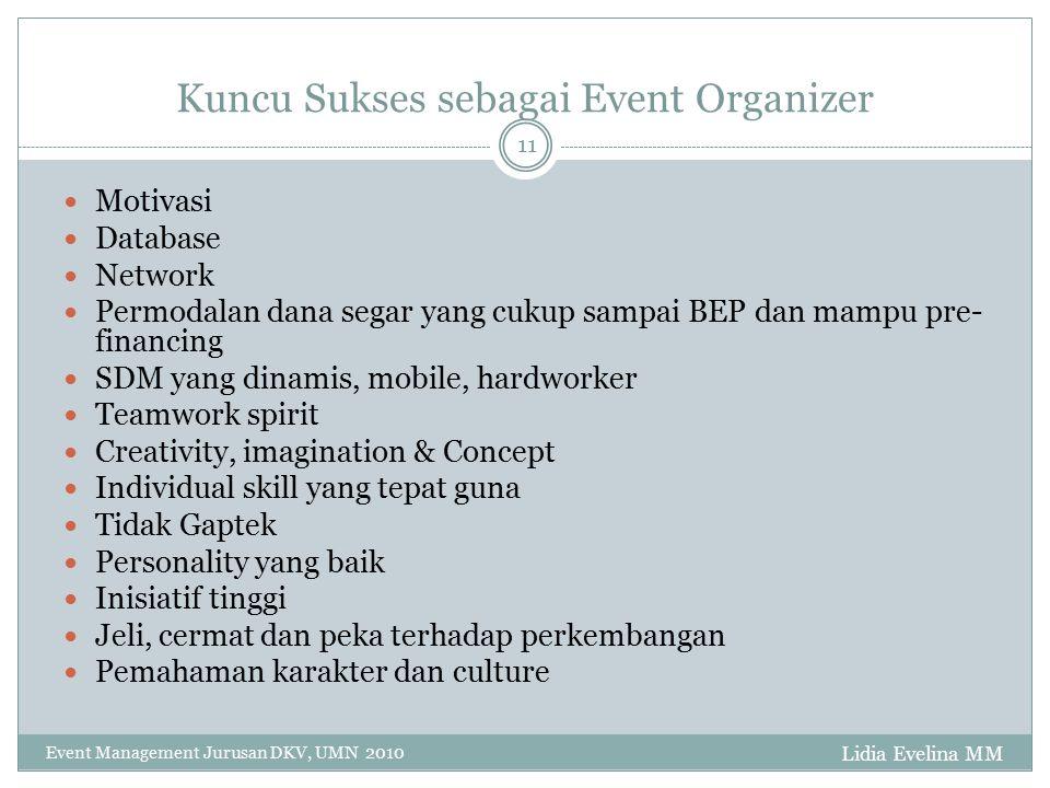Kuncu Sukses sebagai Event Organizer Lidia Evelina MM Event Management Jurusan DKV, UMN 2010 11 Motivasi Database Network Permodalan dana segar yang c