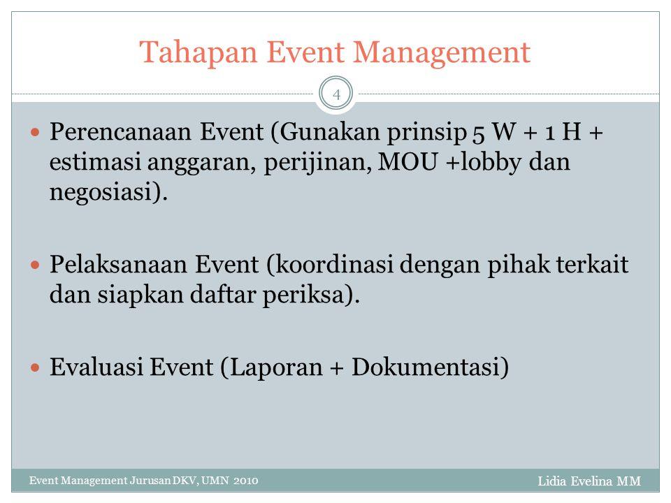 Tahapan Event Management Lidia Evelina MM Event Management Jurusan DKV, UMN 2010 4 Perencanaan Event (Gunakan prinsip 5 W + 1 H + estimasi anggaran, p