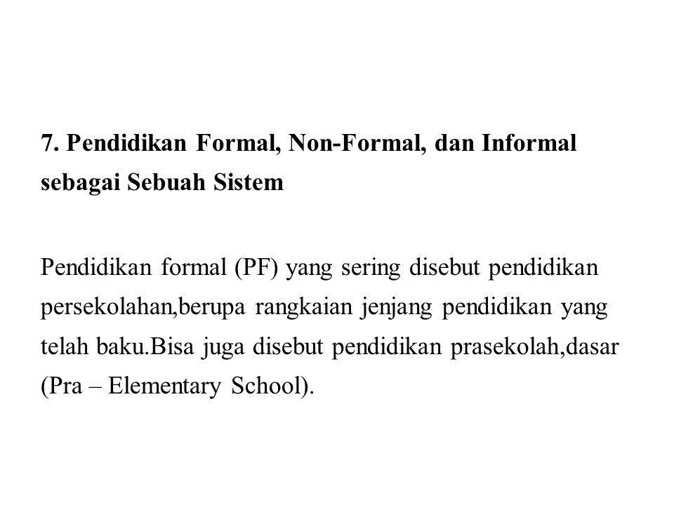 7. Pendidikan Formal, Non-Formal, dan Informal sebagai Sebuah Sistem Pendidikan formal (PF) yang sering disebut pendidikan persekolahan,berupa rangkai