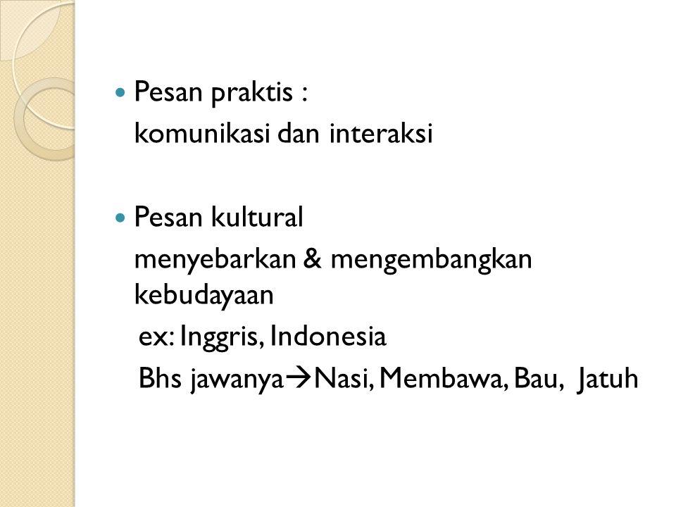 Pesan praktis : komunikasi dan interaksi Pesan kultural menyebarkan & mengembangkan kebudayaan ex: Inggris, Indonesia Bhs jawanya  Nasi, Membawa, Bau