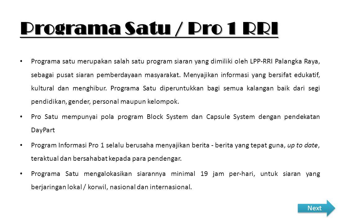 Programa Satu / Pro 1 RRI Programa satu merupakan salah satu program siaran yang dimiliki oleh LPP-RRI Palangka Raya, sebagai pusat siaran pemberdayaa