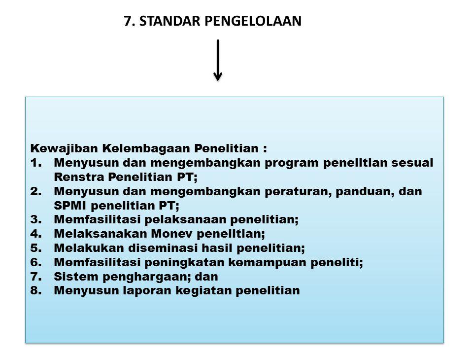 7. STANDAR PENGELOLAAN Kewajiban Kelembagaan Penelitian : 1.Menyusun dan mengembangkan program penelitian sesuai Renstra Penelitian PT; 2.Menyusun dan