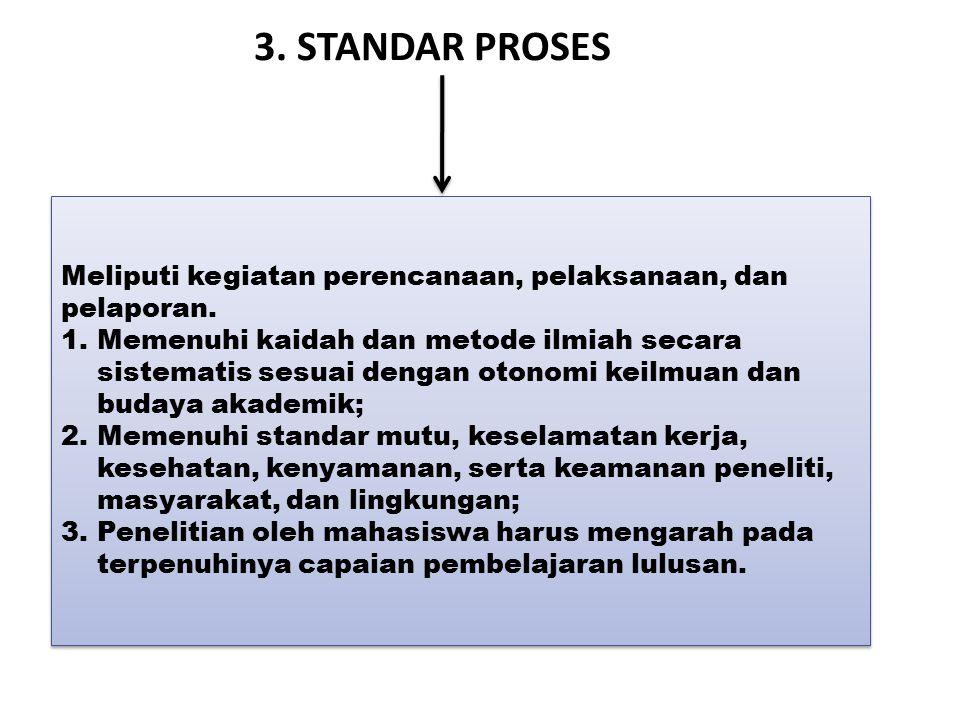 3. STANDAR PROSES Meliputi kegiatan perencanaan, pelaksanaan, dan pelaporan. 1.Memenuhi kaidah dan metode ilmiah secara sistematis sesuai dengan otono