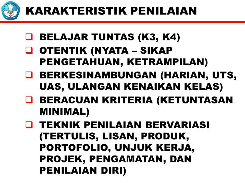 KARAKTERISTIK PENILAIAN  BELAJAR TUNTAS (K3, K4)  OTENTIK (NYATA – SIKAP PENGETAHUAN, KETRAMPILAN)  BERKESINAMBUNGAN (HARIAN, UTS, UAS, ULANGAN KENAIKAN KELAS)  BERACUAN KRITERIA (KETUNTASAN MINIMAL)  TEKNIK PENILAIAN BERVARIASI (TERTULIS, LISAN, PRODUK, PORTOFOLIO, UNJUK KERJA, PROJEK, PENGAMATAN, DAN PENILAIAN DIRI)