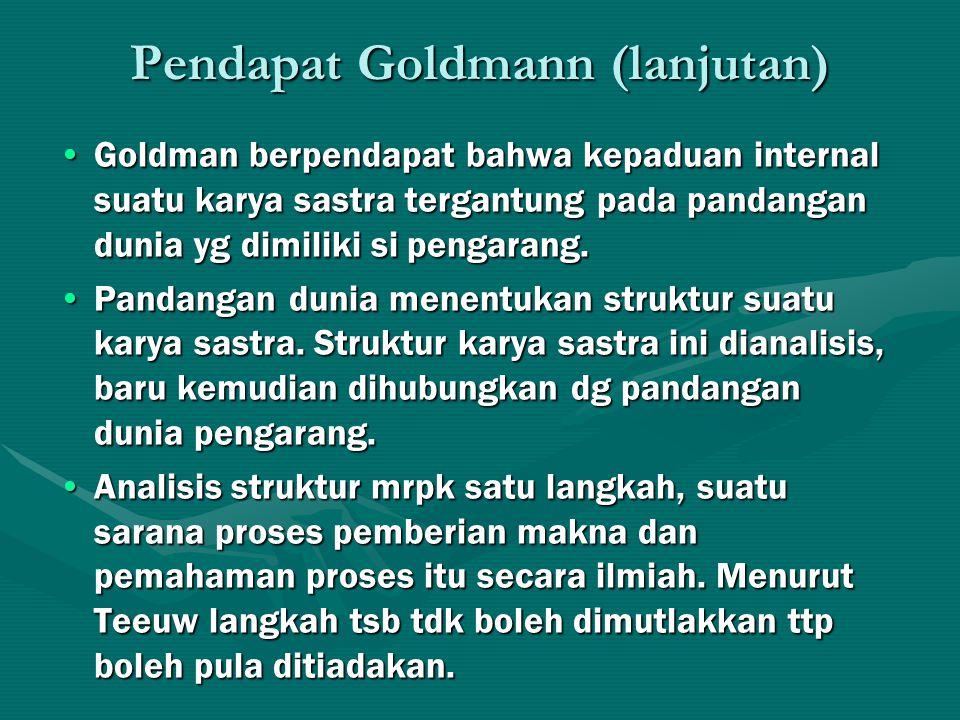 Pendapat Goldmann (lanjutan) Goldman berpendapat bahwa kepaduan internal suatu karya sastra tergantung pada pandangan dunia yg dimiliki si pengarang.Goldman berpendapat bahwa kepaduan internal suatu karya sastra tergantung pada pandangan dunia yg dimiliki si pengarang.