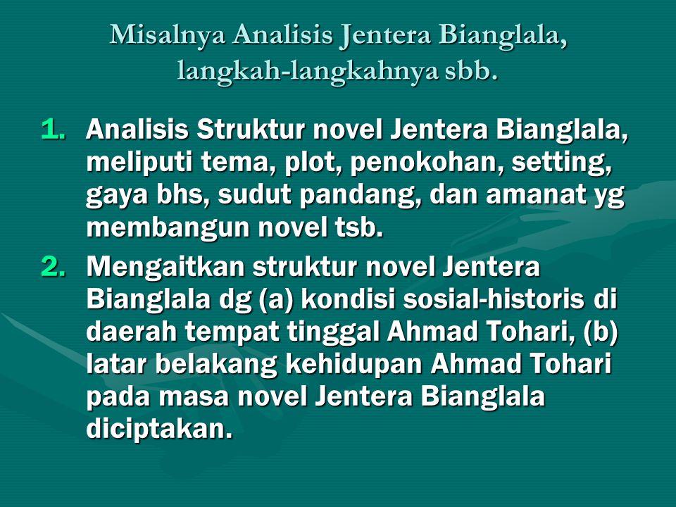 Misalnya Analisis Jentera Bianglala, langkah-langkahnya sbb. 1.Analisis Struktur novel Jentera Bianglala, meliputi tema, plot, penokohan, setting, gay