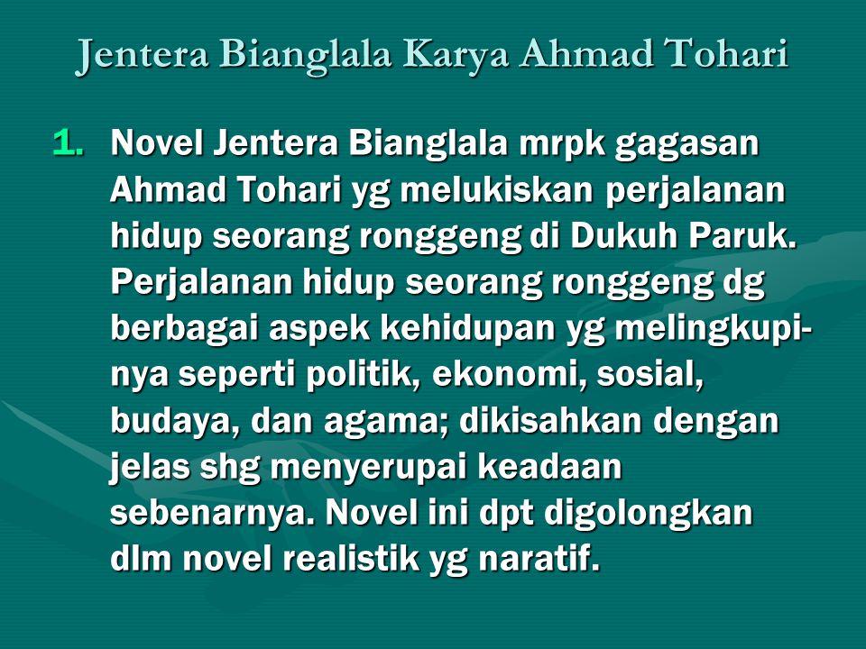 Jentera Bianglala Karya Ahmad Tohari 1.Novel Jentera Bianglala mrpk gagasan Ahmad Tohari yg melukiskan perjalanan hidup seorang ronggeng di Dukuh Paru