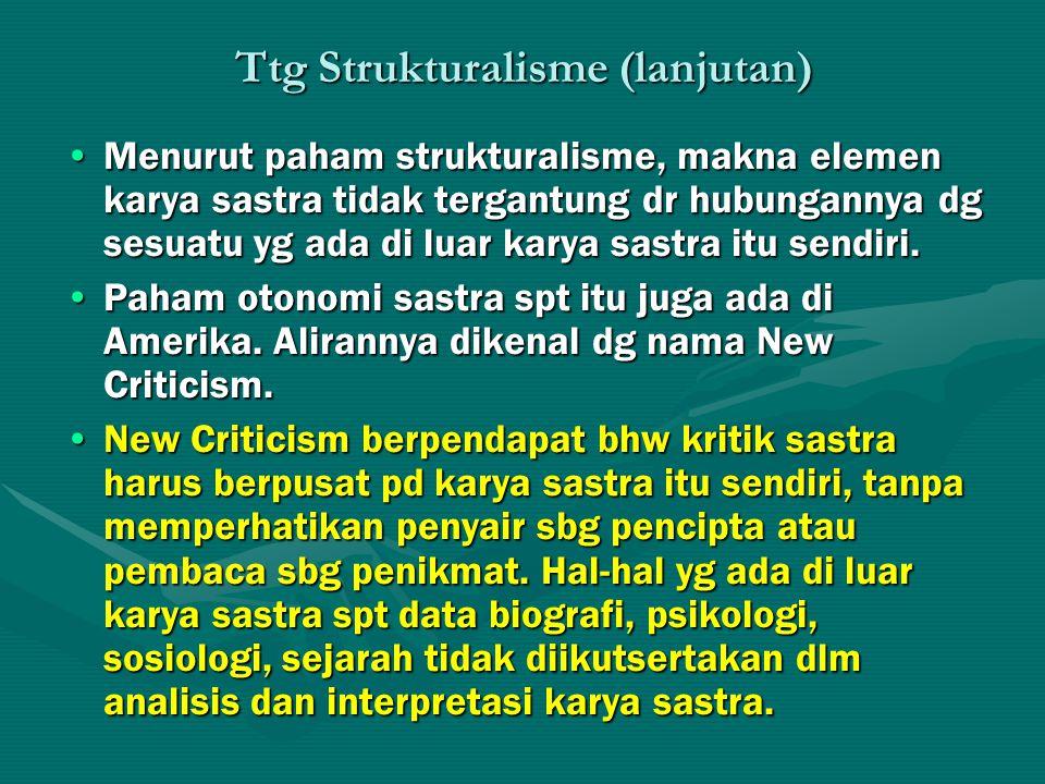 Ttg Strukturalisme (lanjutan) Menurut paham strukturalisme, makna elemen karya sastra tidak tergantung dr hubungannya dg sesuatu yg ada di luar karya sastra itu sendiri.Menurut paham strukturalisme, makna elemen karya sastra tidak tergantung dr hubungannya dg sesuatu yg ada di luar karya sastra itu sendiri.