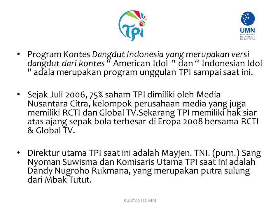 """Program Kontes Dangdut Indonesia yang merupakan versi dangdut dari kontes """" American Idol"""