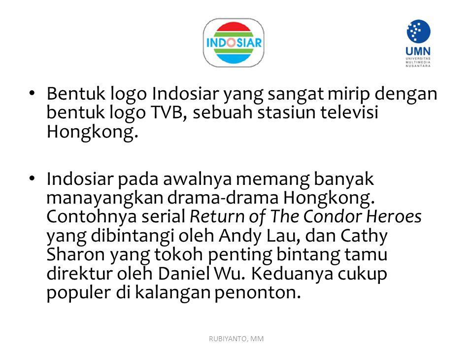 Bentuk logo Indosiar yang sangat mirip dengan bentuk logo TVB, sebuah stasiun televisi Hongkong. Indosiar pada awalnya memang banyak manayangkan drama
