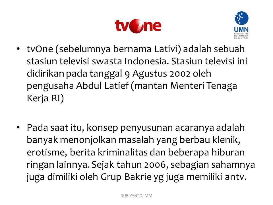 tvOne (sebelumnya bernama Lativi) adalah sebuah stasiun televisi swasta Indonesia. Stasiun televisi ini didirikan pada tanggal 9 Agustus 2002 oleh pen