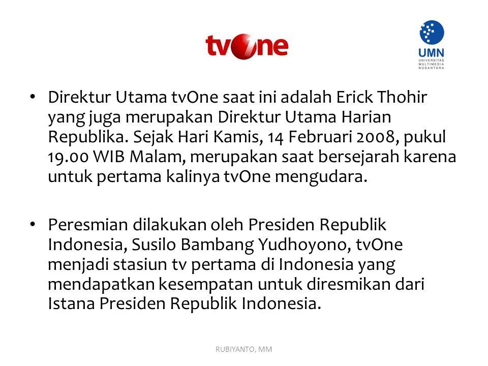 Direktur Utama tvOne saat ini adalah Erick Thohir yang juga merupakan Direktur Utama Harian Republika. Sejak Hari Kamis, 14 Februari 2008, pukul 19.00