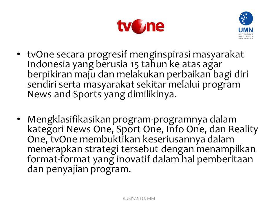 tvOne secara progresif menginspirasi masyarakat Indonesia yang berusia 15 tahun ke atas agar berpikiran maju dan melakukan perbaikan bagi diri sendiri