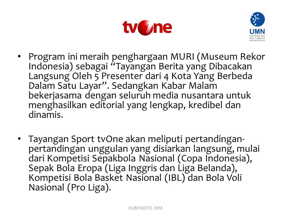 """Program ini meraih penghargaan MURI (Museum Rekor Indonesia) sebagai """"Tayangan Berita yang Dibacakan Langsung Oleh 5 Presenter dari 4 Kota Yang Berbed"""