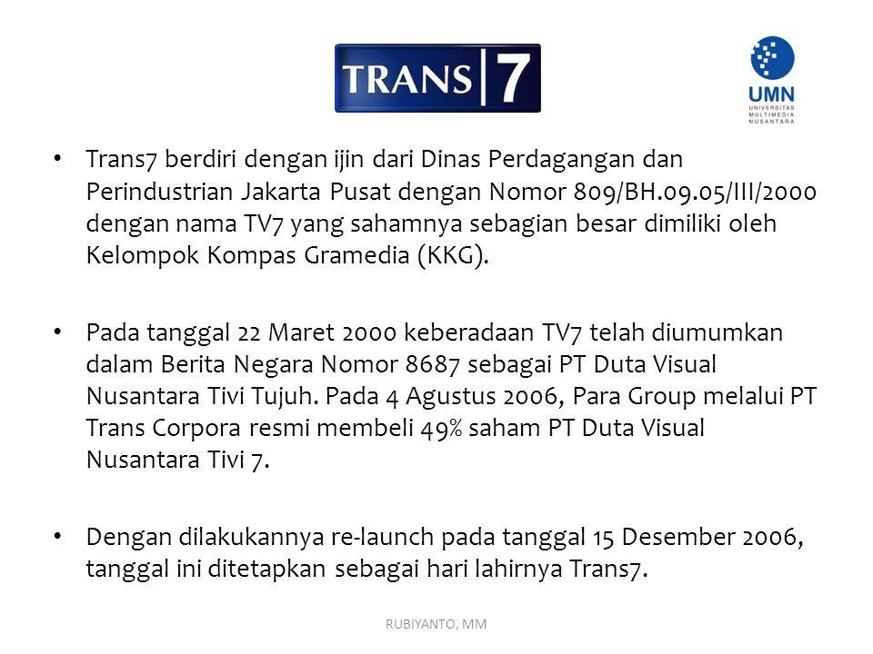 Trans7 berdiri dengan ijin dari Dinas Perdagangan dan Perindustrian Jakarta Pusat dengan Nomor 809/BH.09.05/III/2000 dengan nama TV7 yang sahamnya seb