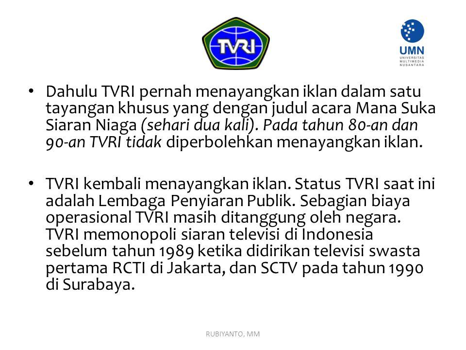 Dahulu TVRI pernah menayangkan iklan dalam satu tayangan khusus yang dengan judul acara Mana Suka Siaran Niaga (sehari dua kali). Pada tahun 80-an dan