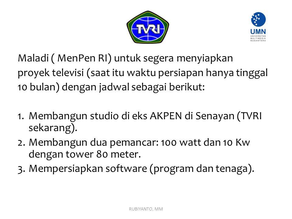 Maladi ( MenPen RI) untuk segera menyiapkan proyek televisi (saat itu waktu persiapan hanya tinggal 10 bulan) dengan jadwal sebagai berikut: 1. Memban