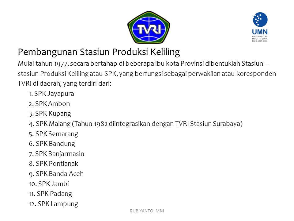 Pembangunan Stasiun Produksi Keliling Mulai tahun 1977, secara bertahap di beberapa ibu kota Provinsi dibentuklah Stasiun – stasiun Produksi Keliling