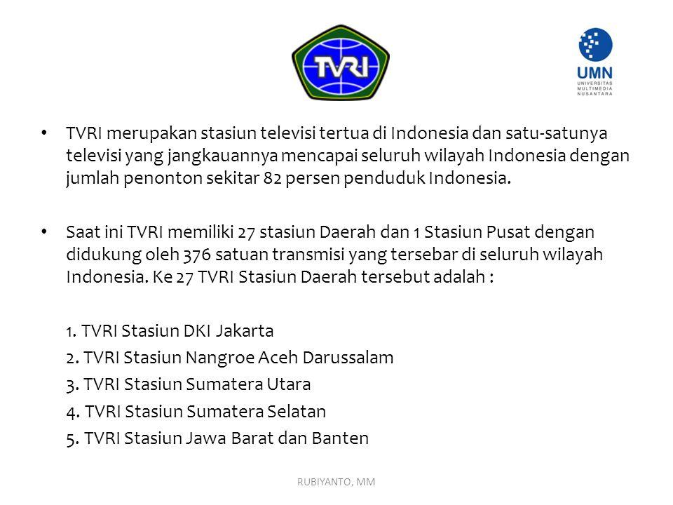 TVRI merupakan stasiun televisi tertua di Indonesia dan satu-satunya televisi yang jangkauannya mencapai seluruh wilayah Indonesia dengan jumlah penon