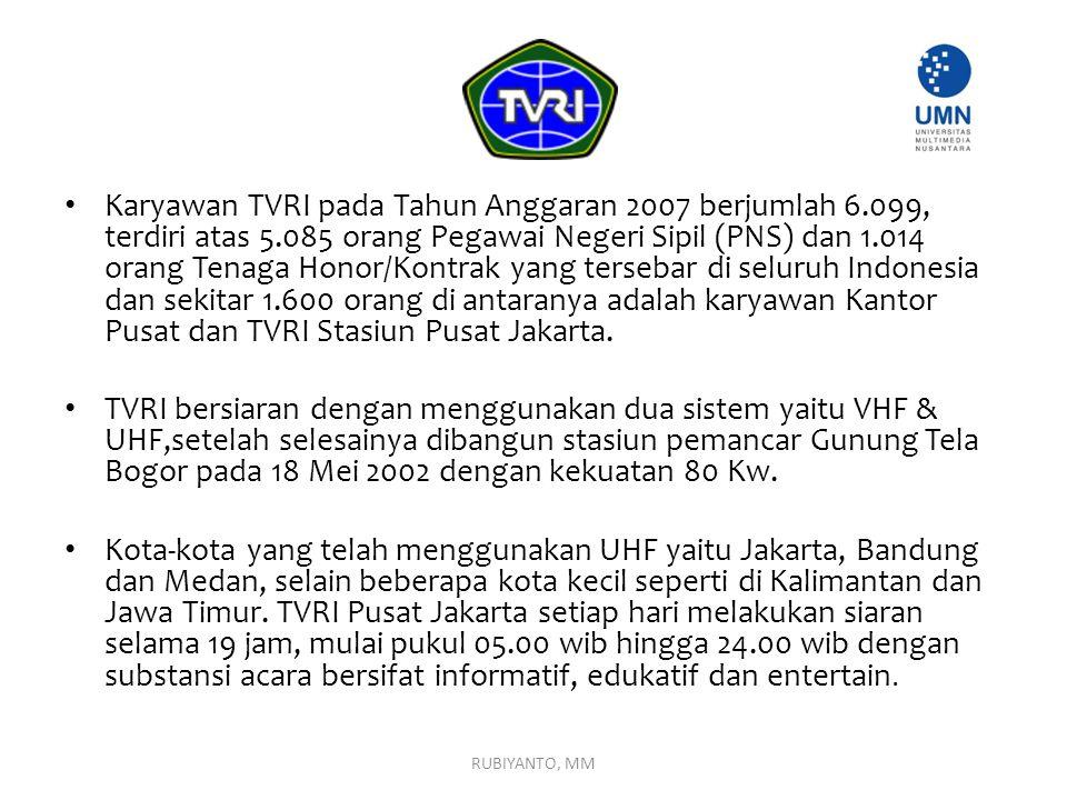 Karyawan TVRI pada Tahun Anggaran 2007 berjumlah 6.099, terdiri atas 5.085 orang Pegawai Negeri Sipil (PNS) dan 1.014 orang Tenaga Honor/Kontrak yang