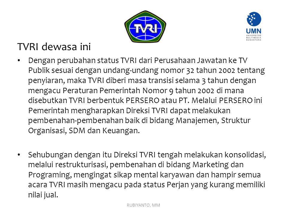 TVRI dewasa ini Dengan perubahan status TVRI dari Perusahaan Jawatan ke TV Publik sesuai dengan undang-undang nomor 32 tahun 2002 tentang penyiaran, m