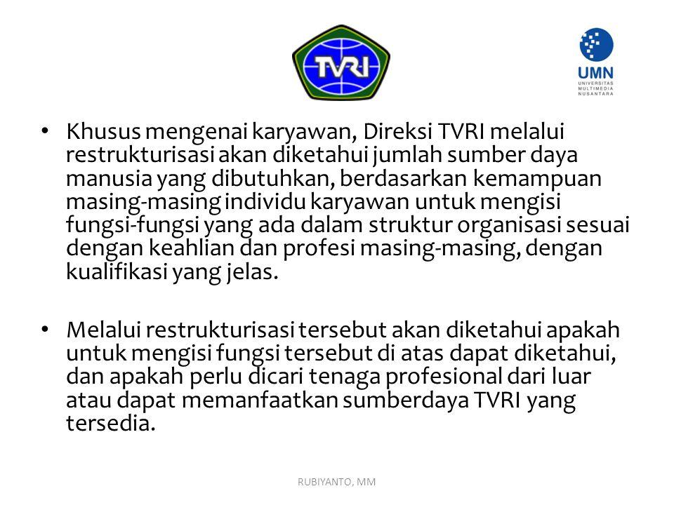Khusus mengenai karyawan, Direksi TVRI melalui restrukturisasi akan diketahui jumlah sumber daya manusia yang dibutuhkan, berdasarkan kemampuan masing