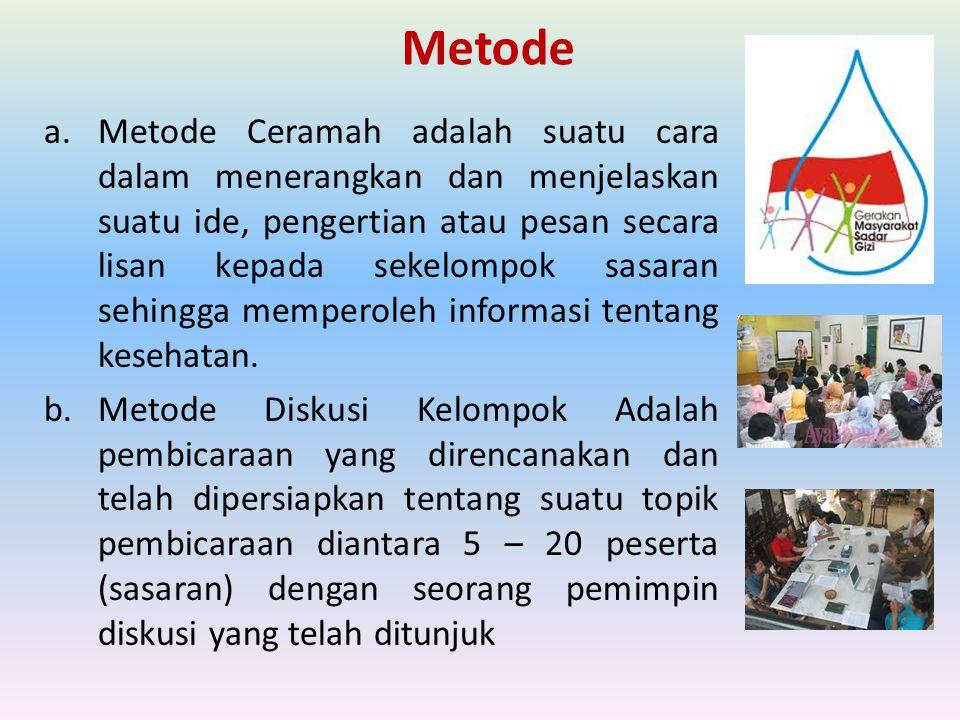 Metode a.Metode Ceramah adalah suatu cara dalam menerangkan dan menjelaskan suatu ide, pengertian atau pesan secara lisan kepada sekelompok sasaran se