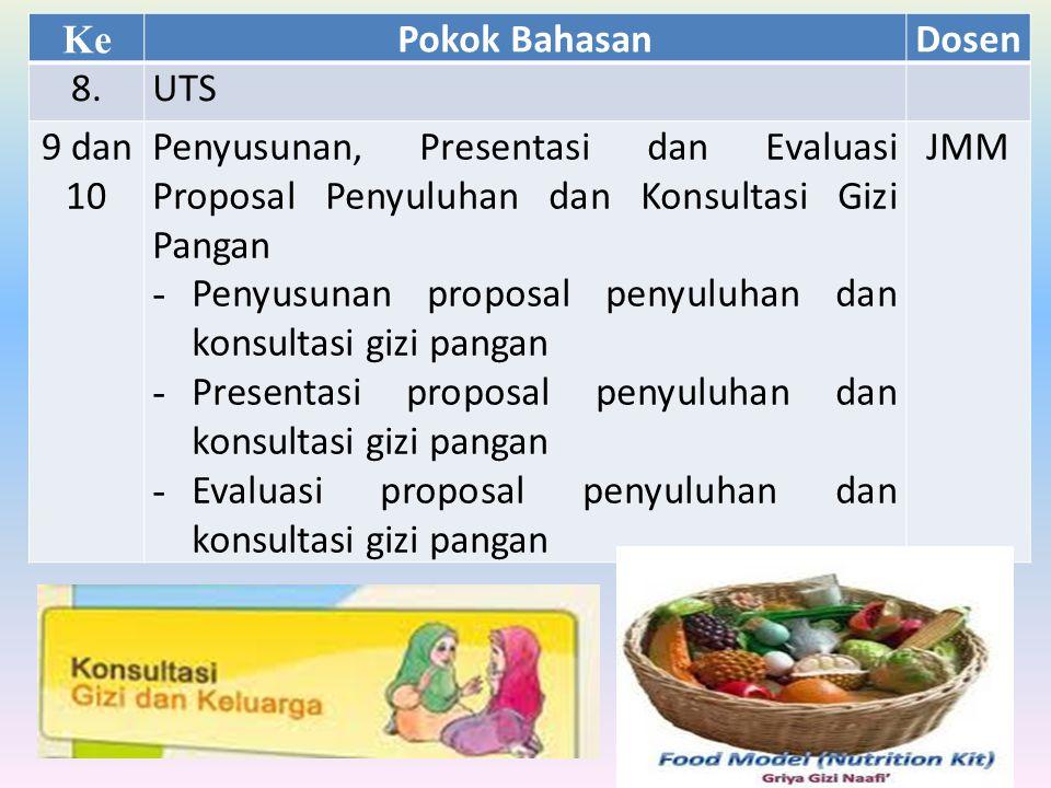 Ke Pokok BahasanDosen 8.UTS 9 dan 10 Penyusunan, Presentasi dan Evaluasi Proposal Penyuluhan dan Konsultasi Gizi Pangan - Penyusunan proposal penyuluh