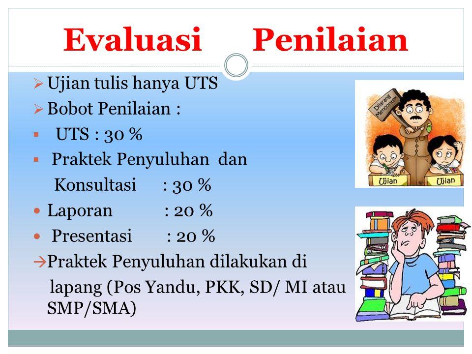 Evaluasi Penilaian  Ujian tulis hanya UTS  Bobot Penilaian :  UTS : 30 %  Praktek Penyuluhan dan Konsultasi : 30 % Laporan : 20 % Presentasi : 20