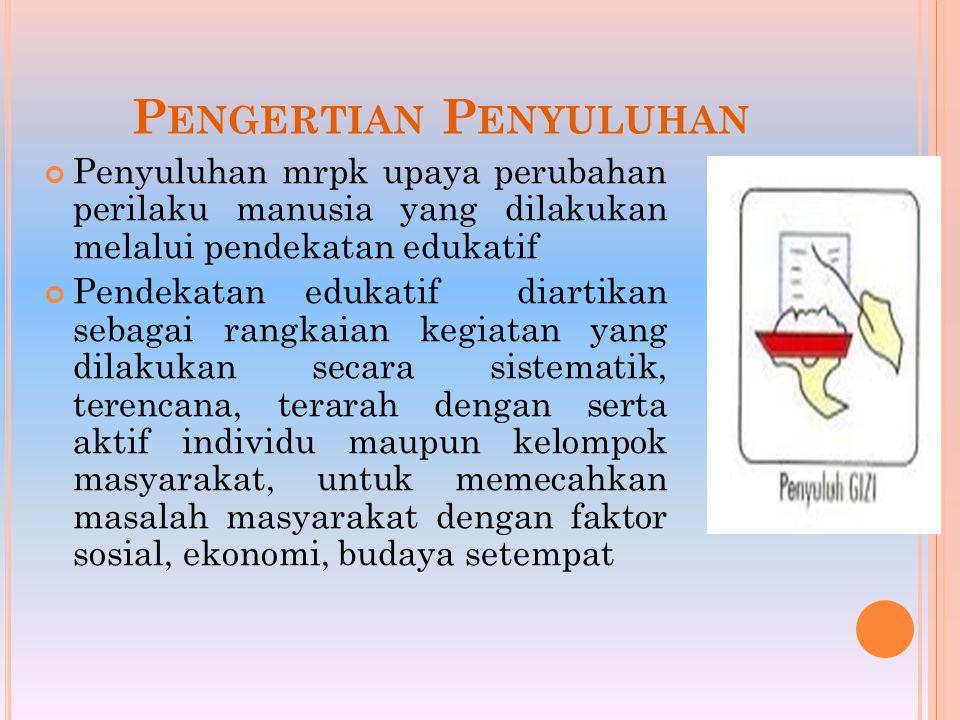 P ENGERTIAN P ENYULUHAN Penyuluhan mrpk upaya perubahan perilaku manusia yang dilakukan melalui pendekatan edukatif Pendekatan edukatif diartikan seba