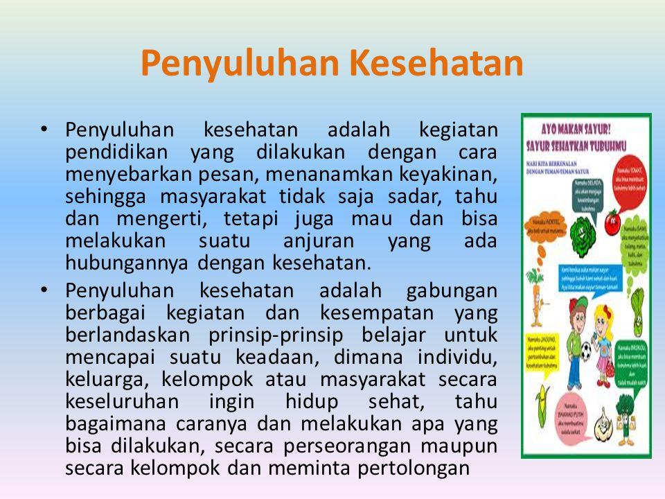 Penyuluhan Kesehatan Penyuluhan kesehatan adalah kegiatan pendidikan yang dilakukan dengan cara menyebarkan pesan, menanamkan keyakinan, sehingga masy